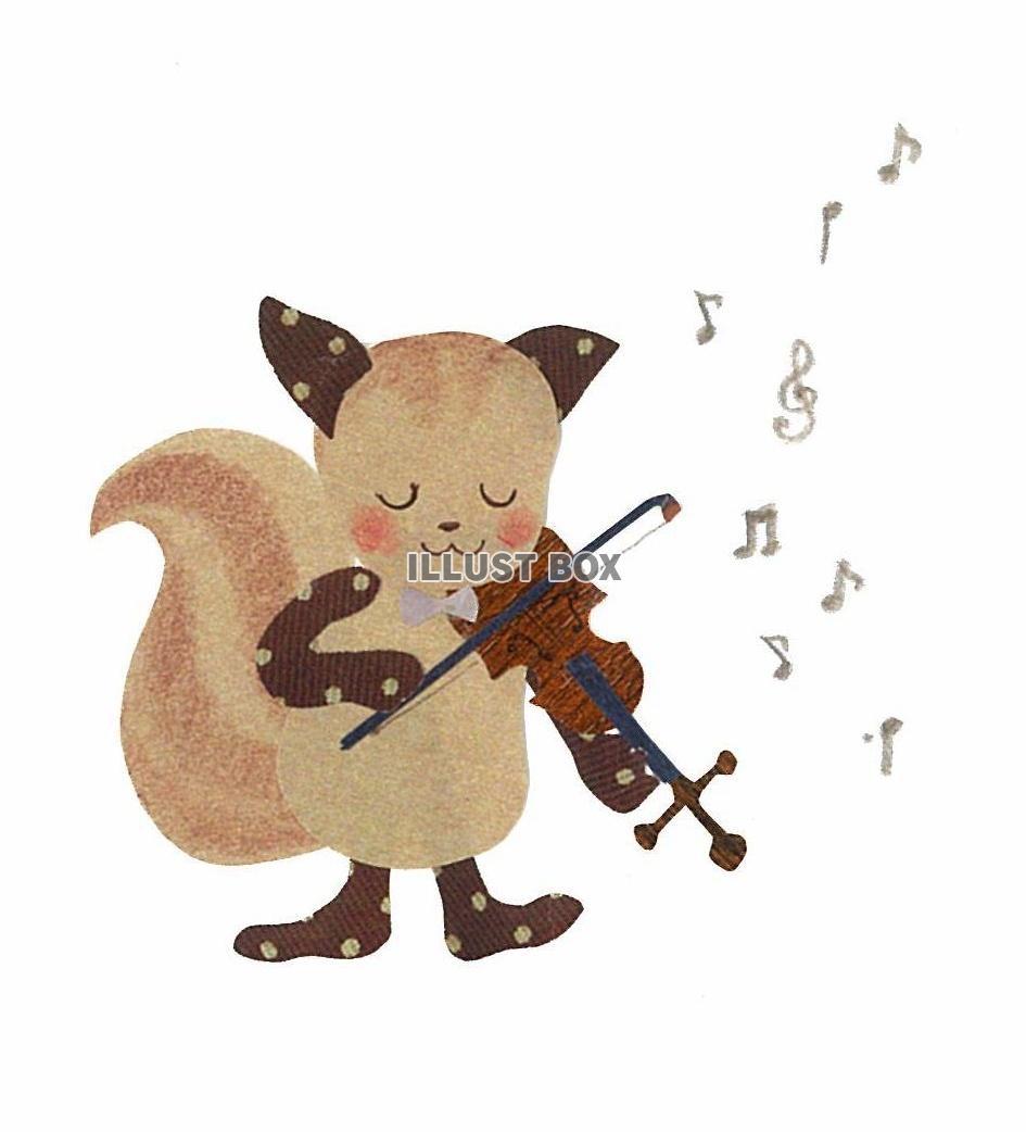 無料イラスト 森の音楽家~りすとバイオリン~