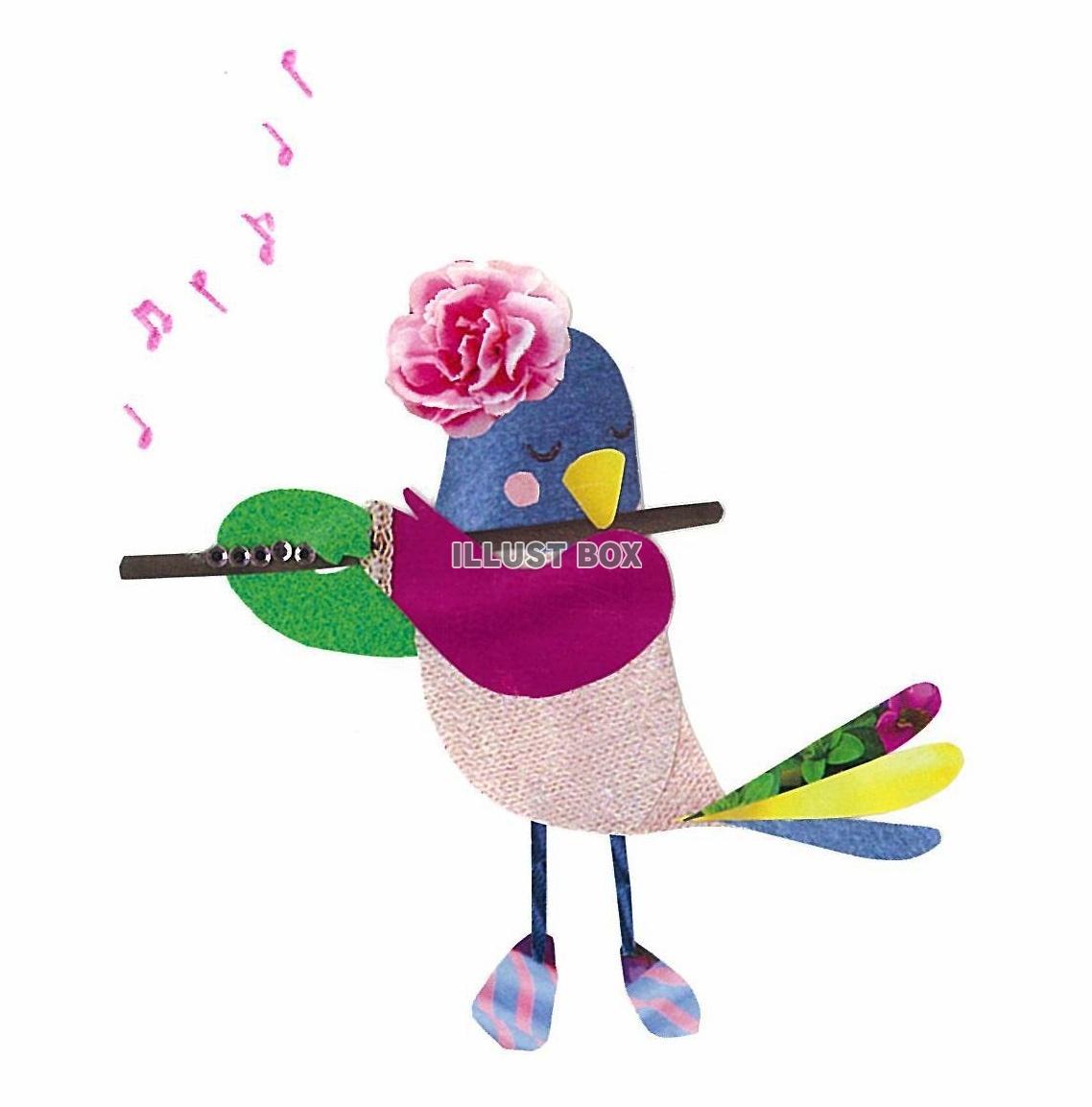 無料イラスト 森の音楽家~小鳥とフルート~