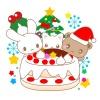 クリスマスケーキとうさぎ・猫・サンタくまのイラスト
