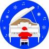 白いグランドピアノとサンタクロース