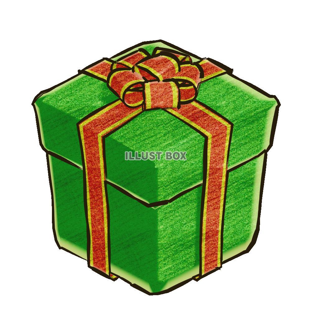 無料イラスト クリスマスのプレゼントボックス・緑B