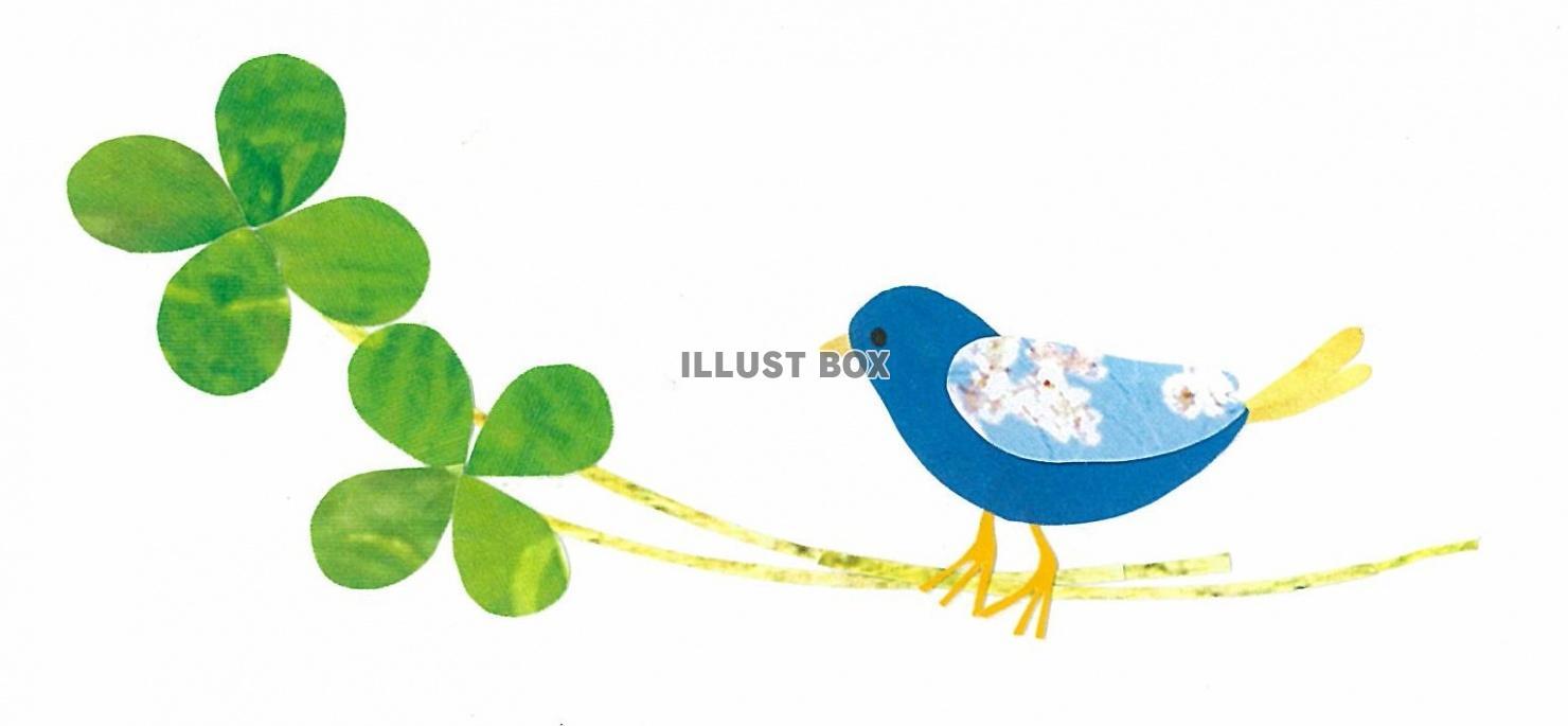 無料イラスト 青い鳥と四つ葉のクローバー