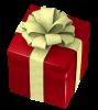 クリスマスのプレゼントボックス・四角に太いリボン