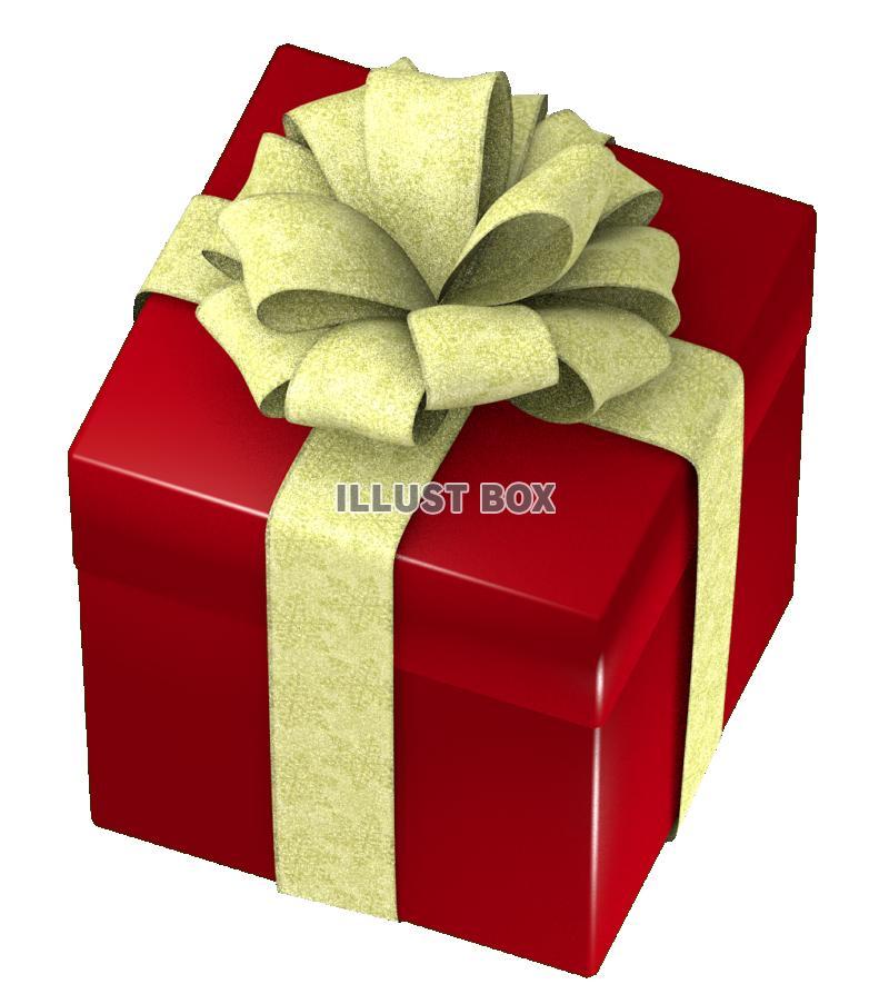 無料イラスト クリスマスのプレゼントボックス・四角に太いリボン