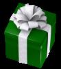 クリスマスのプレゼントボックス・四角に太いリボンB
