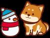 柴犬と雪だるま