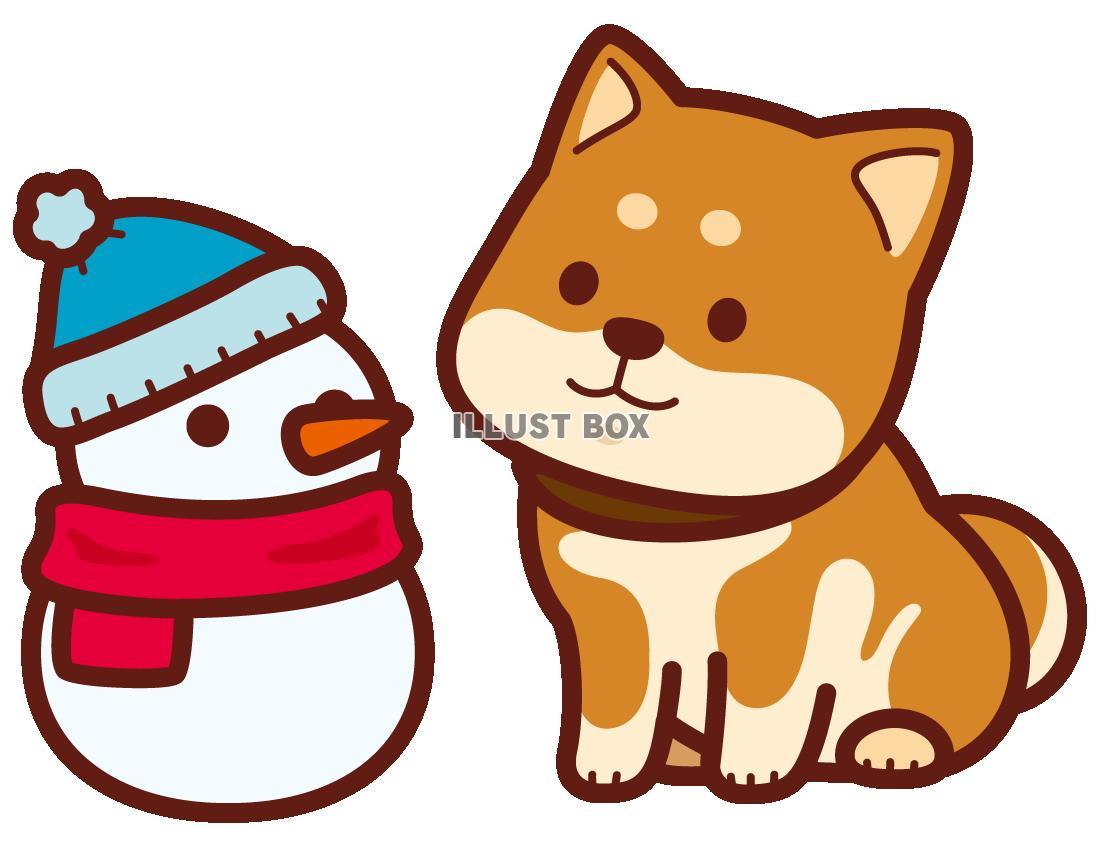 無料イラスト 柴犬と雪だるま