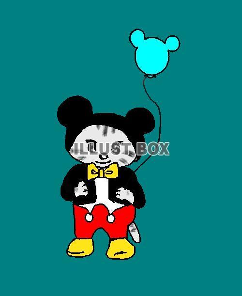 ねこまる憧れのミッキー【透過】PNG