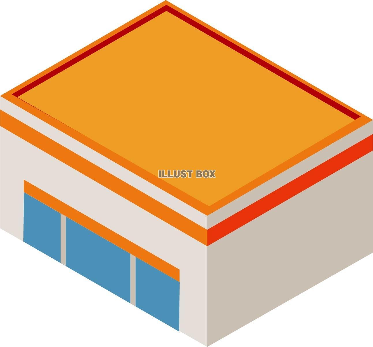 無料イラスト オレンジのシンプルなお店