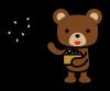 豆まきをするクマ (透過PNG)
