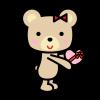 バレンタインプレゼントをあげるクマ1 (透過PNG)