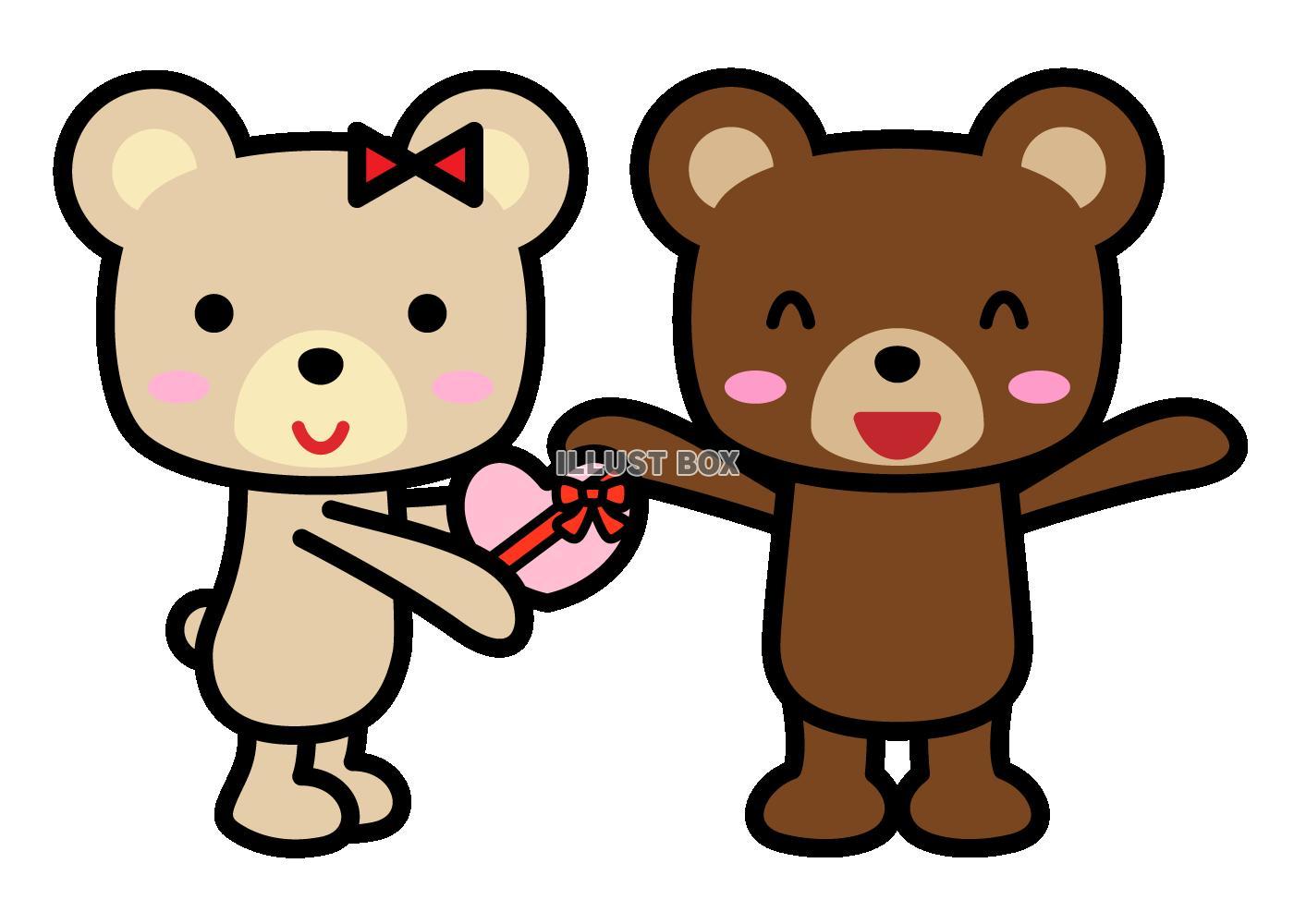 無料イラスト バレンタインプレゼントをあげるクマ2 透過png