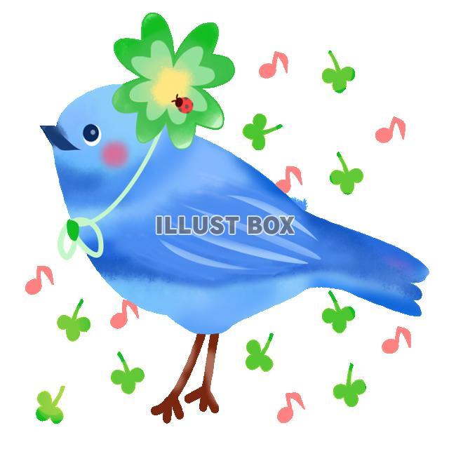 無料イラスト オシャレな青い鳥透過png