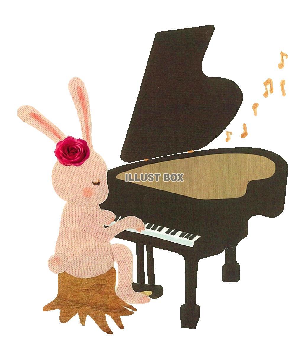 無料イラスト 森の音楽家~うさぎとピアノ~ 透過png