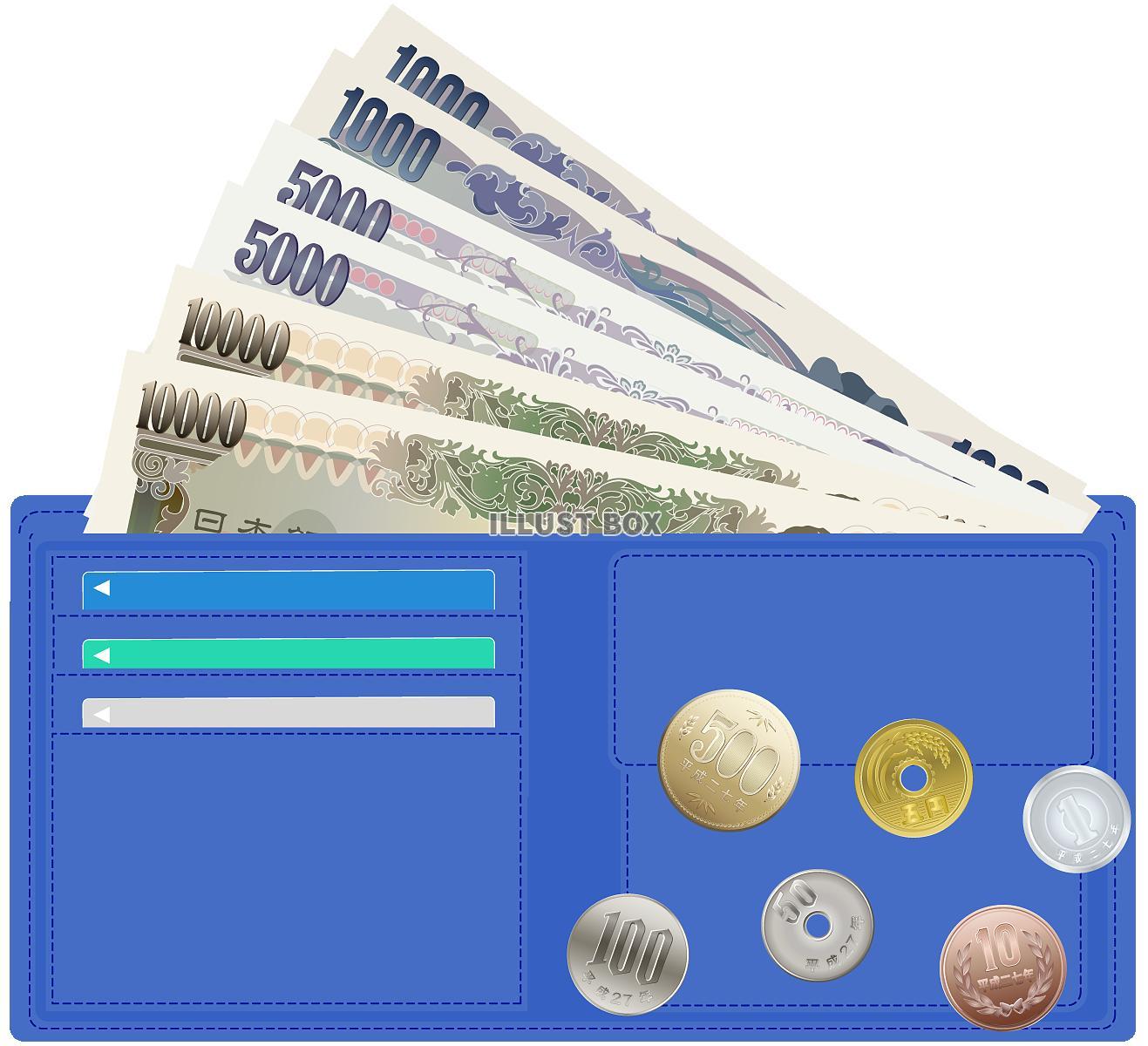 リアルなお金と青財布(pngのみ)