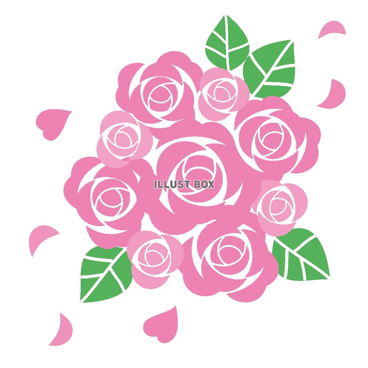 無料イラスト ピンクの薔薇のブーケ