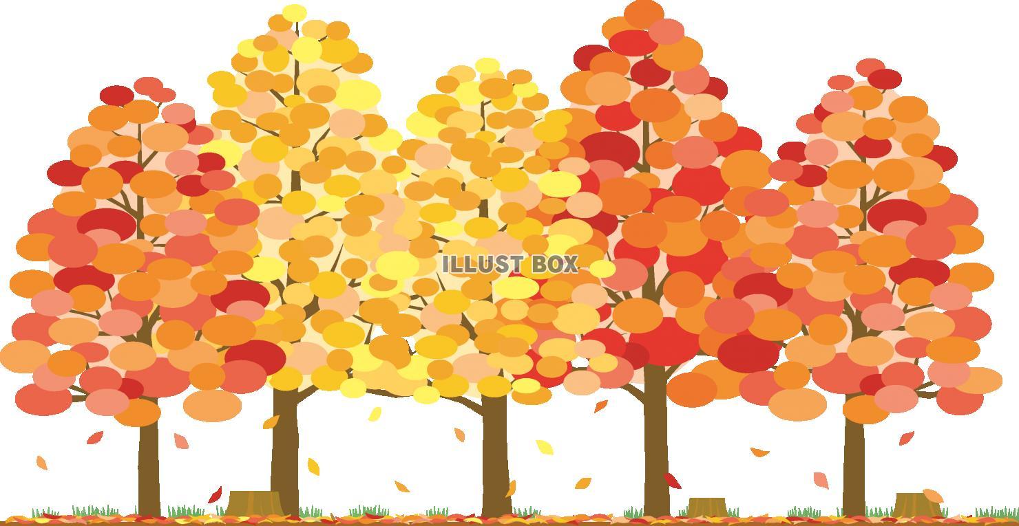 無料イラスト 紅葉の木々が並ぶイラスト