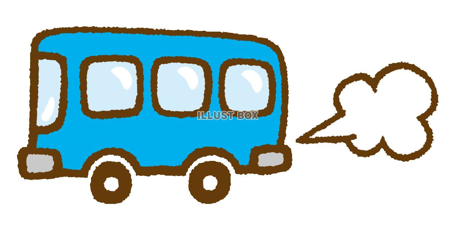 無料イラスト 可愛い手描きのバスとガス