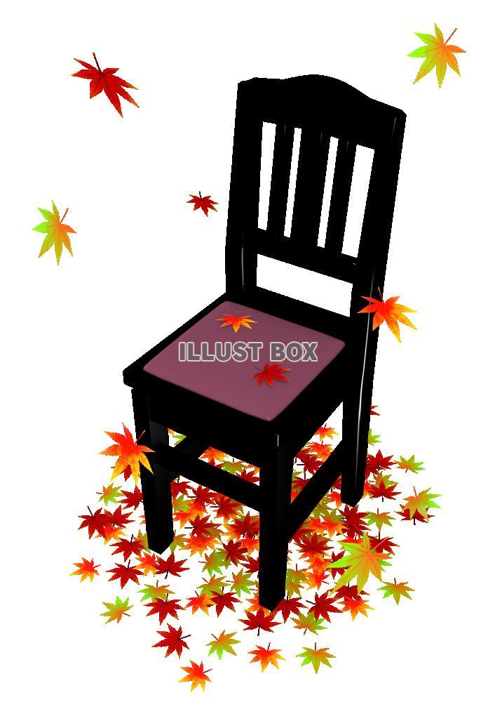 紅葉とピアノ椅子