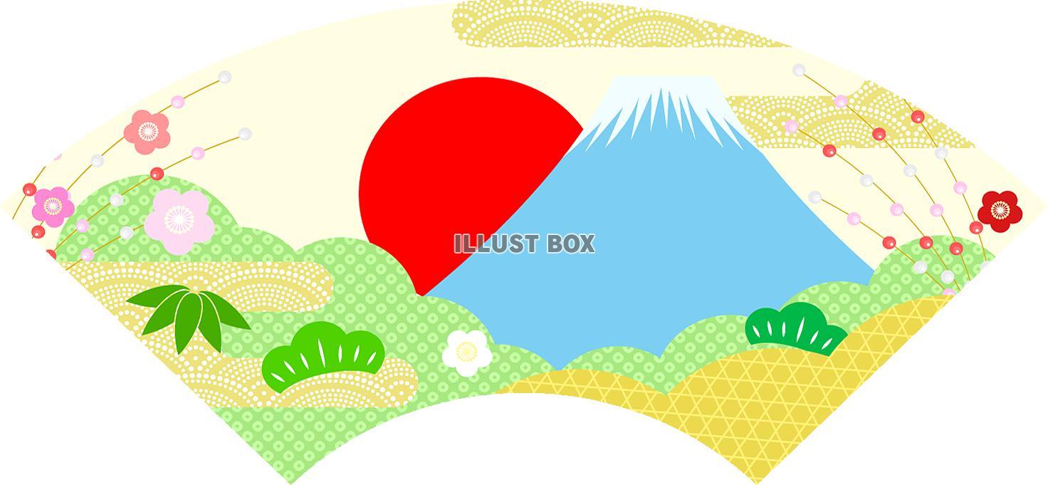 無料イラスト 扇子飾り年賀状に 富士山 日の出柄