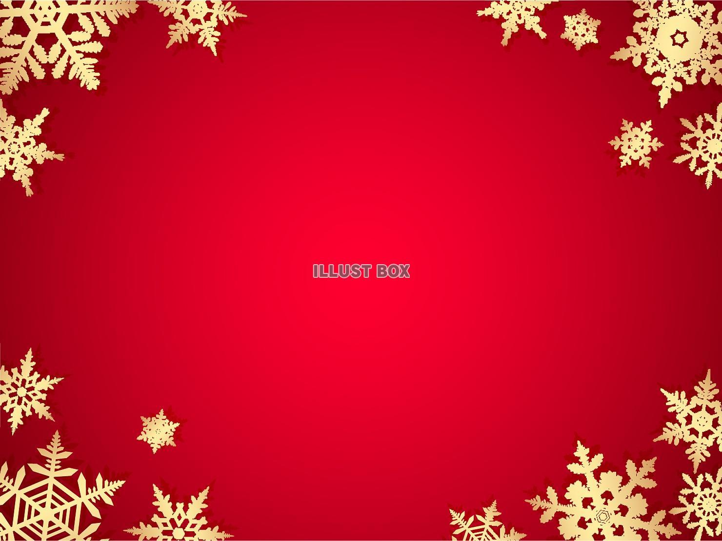 無料イラスト 冬、雪の結晶赤色の背景
