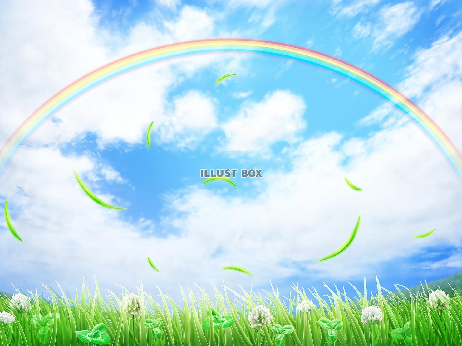 無料イラスト 白爪草、虹、芝生背景(jpgのみ)