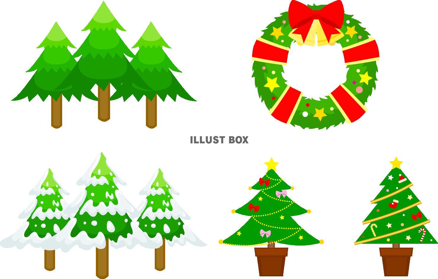 無料イラスト クリスマスモミの木リースツリーpngcseps