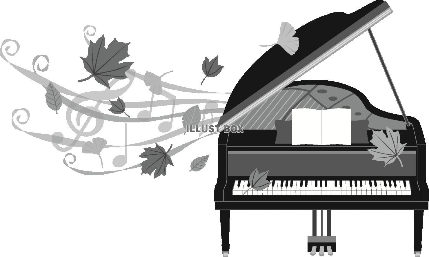 無料イラスト 秋のピアノ(モノクロ)