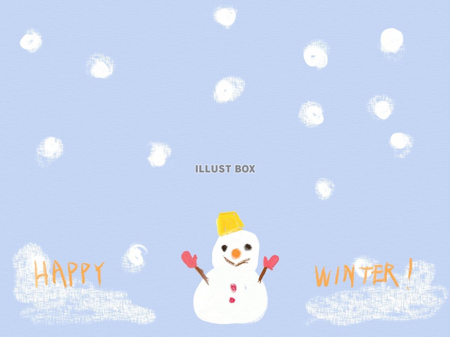 無料イラスト 雪だるまの冬