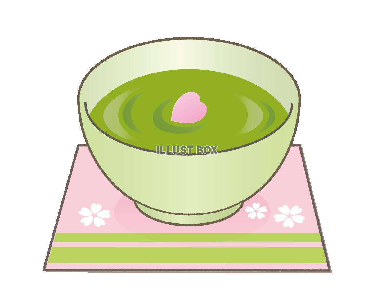 無料イラスト 抹茶と桜