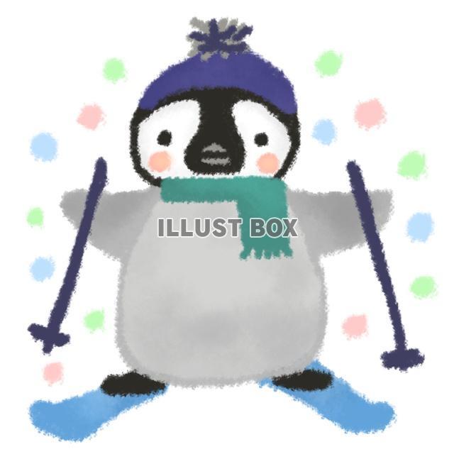 無料イラスト ペンギン坊やのスキー