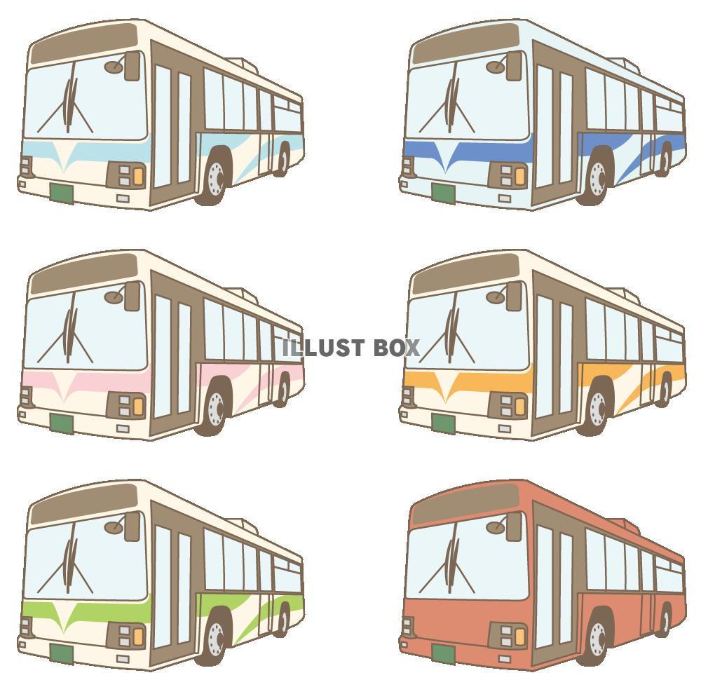 無料イラスト バス 斜め向き