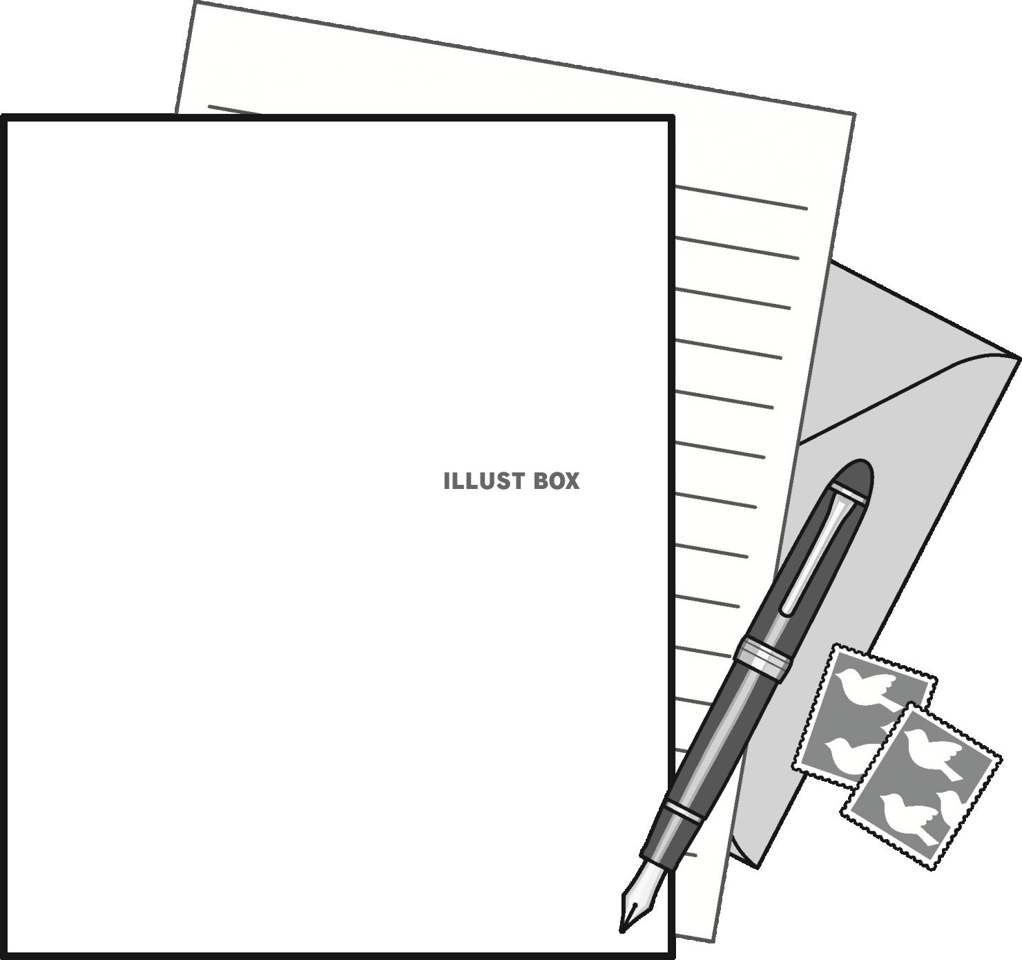 無料イラスト モノクロのレターセットのフレーム