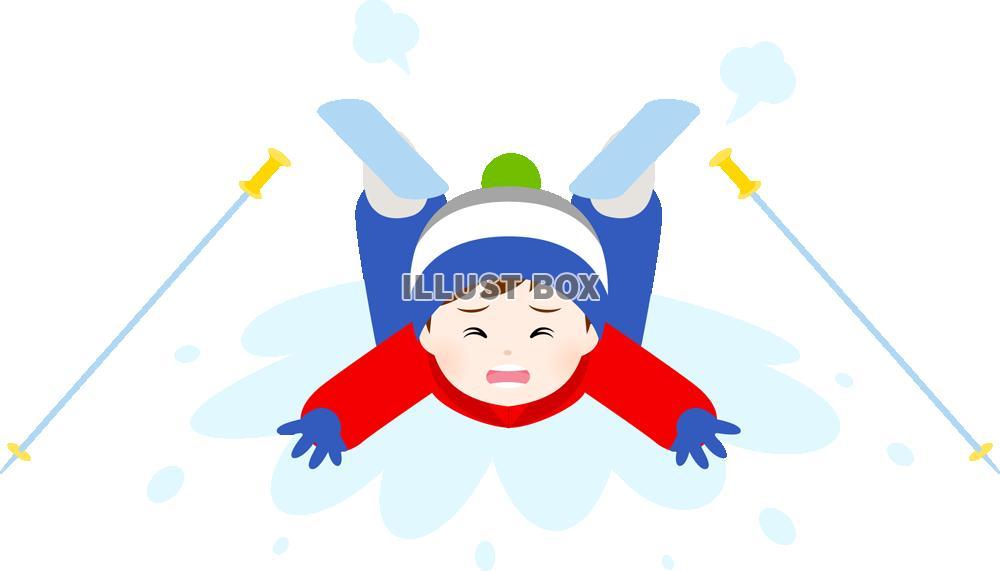 無料イラスト スキー中にこける男の子pngcseps