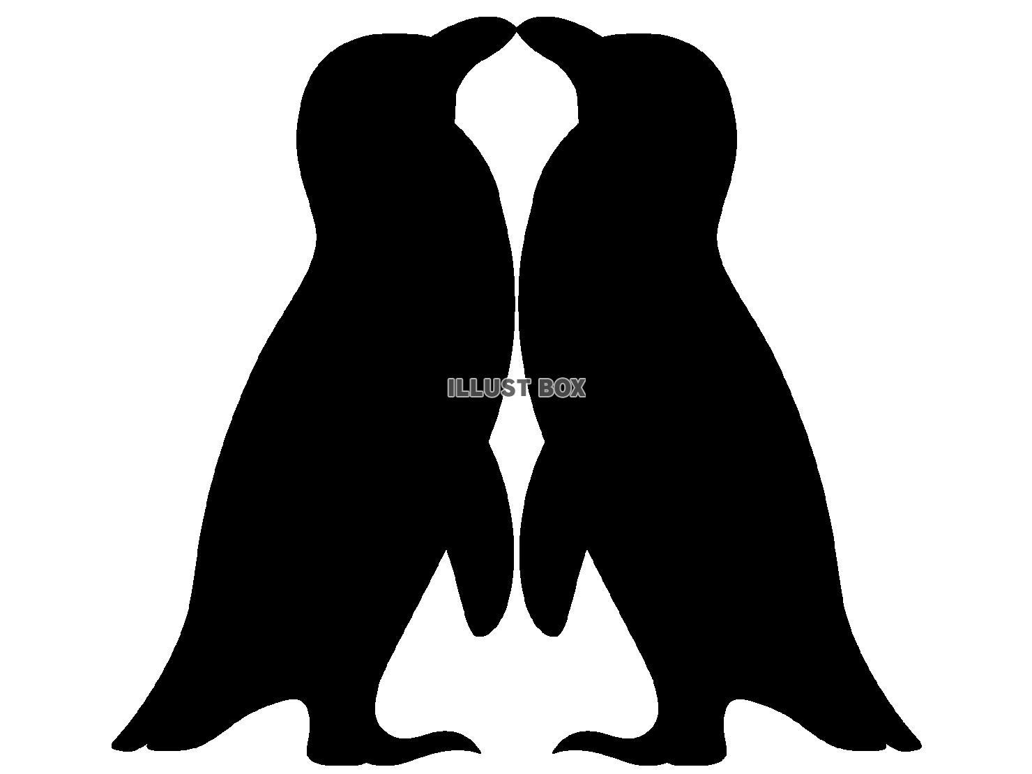 無料イラスト ペンギンシルエット(png・cseps)