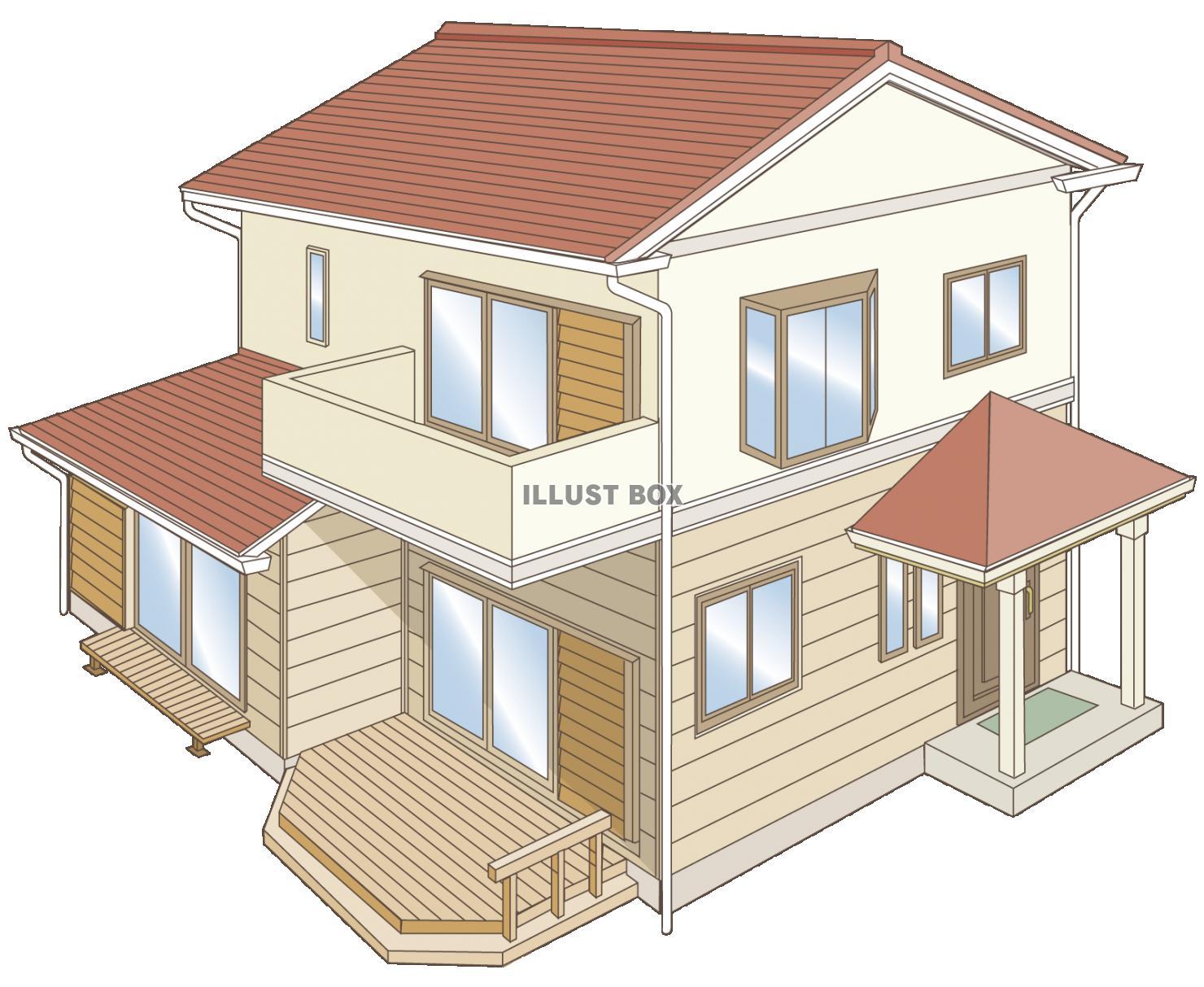 無料イラスト 斜め上からの家 住宅