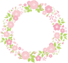 春植物ピンク桜シンプル可愛いおしゃれなシルエット飾り装飾枠円丸フレーム【無料イラストワンポイントカットフリー素材 商用利用可能OK 透過PNG 背景透明png画像】