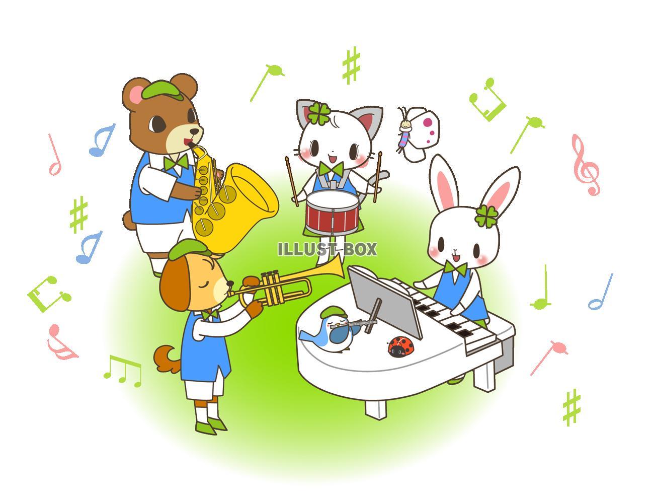 無料イラスト 動物たちの音楽会