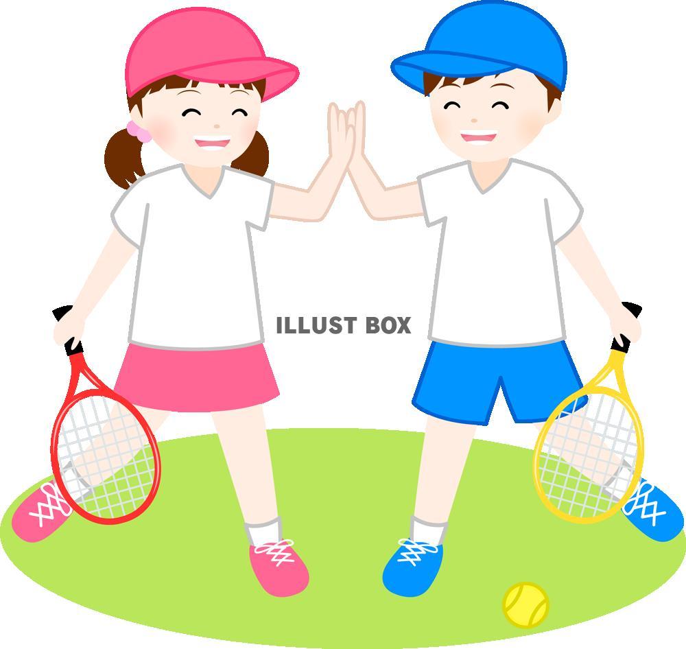 無料イラスト テニスするこども(png・cseps)