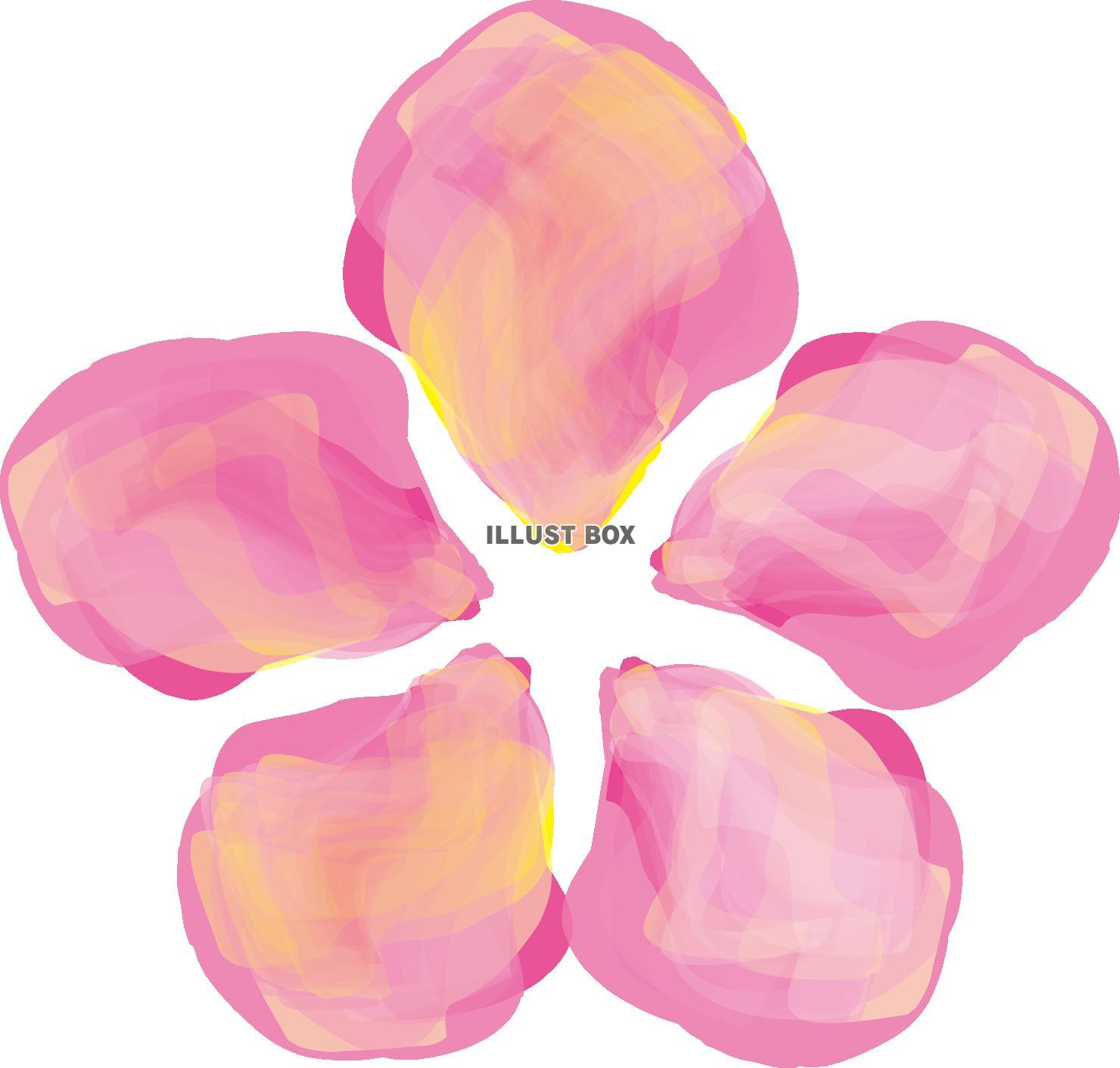 無料イラスト 水彩和風日本筆滲みにじみ年賀状素材桜さくら花ピンク色