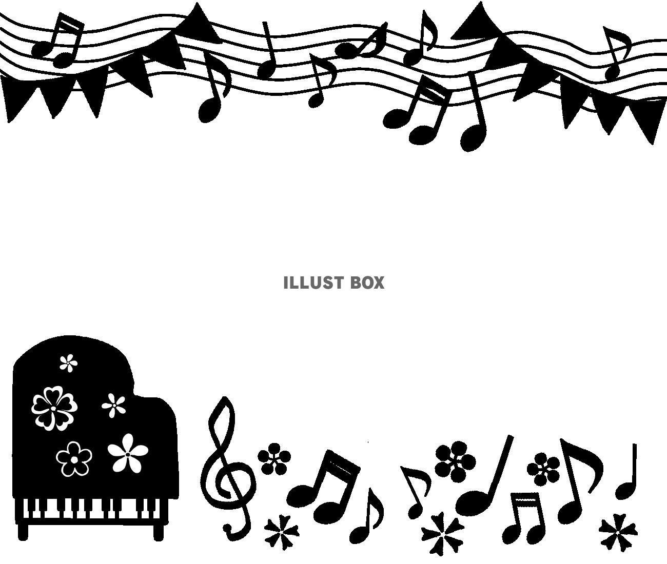 無料イラスト ピアノモノクロフレーム 透過png