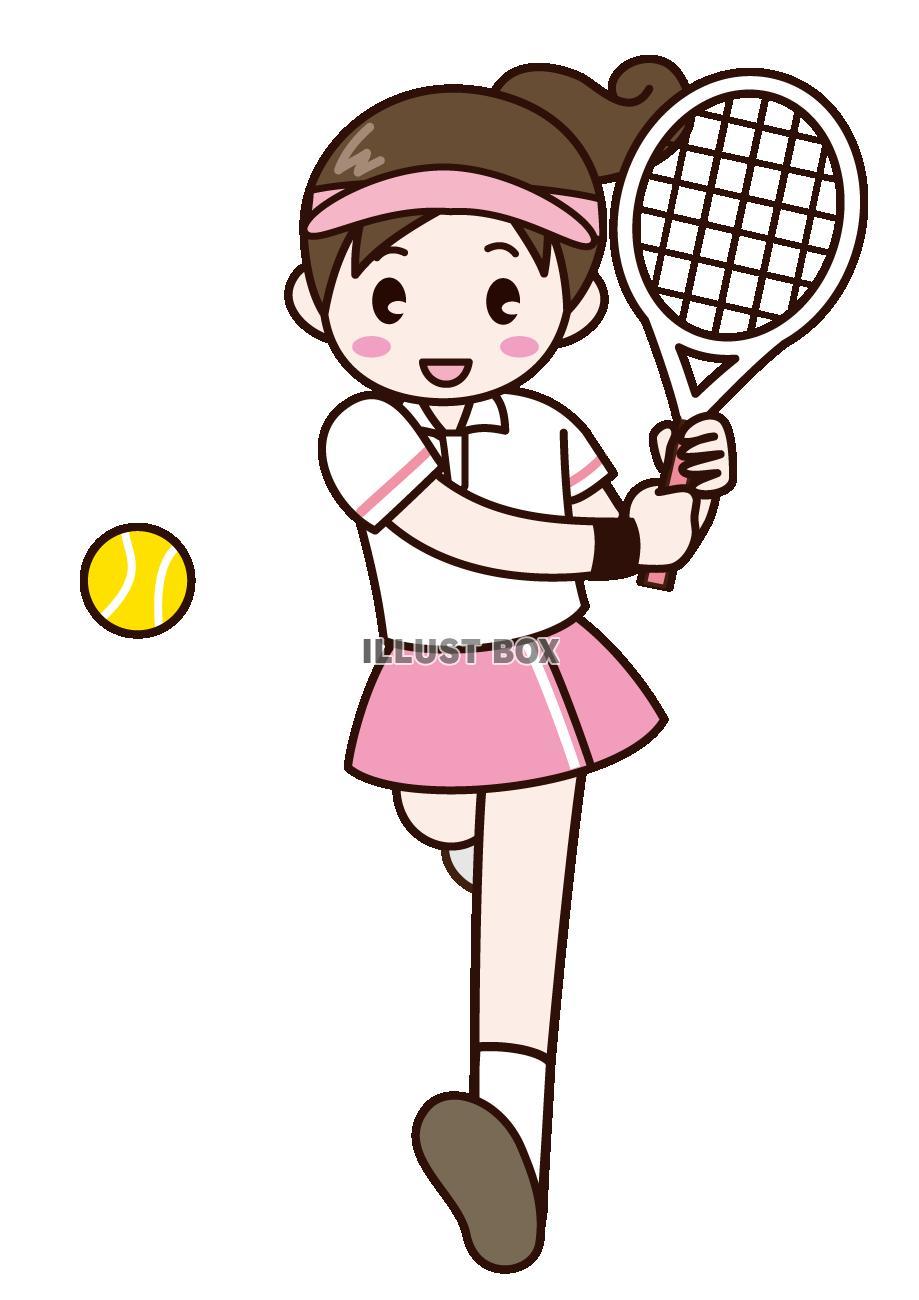 無料イラスト テニス女子