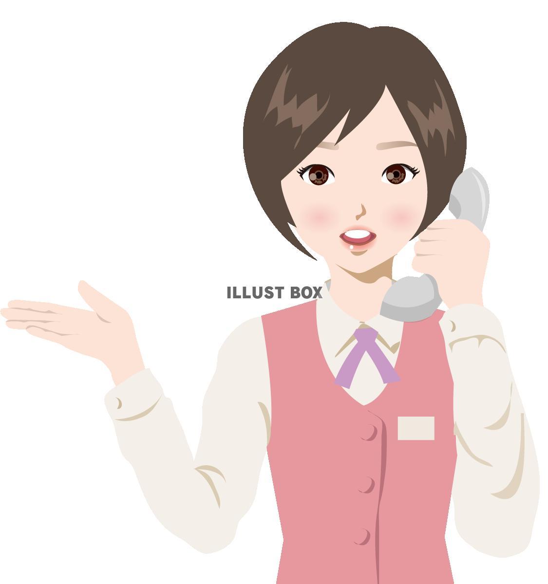 無料イラスト 事務員 案内 電話 ピンク