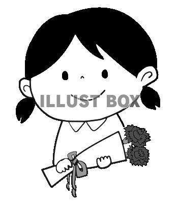 無料イラスト 母の日女の子白黒ほほえみ