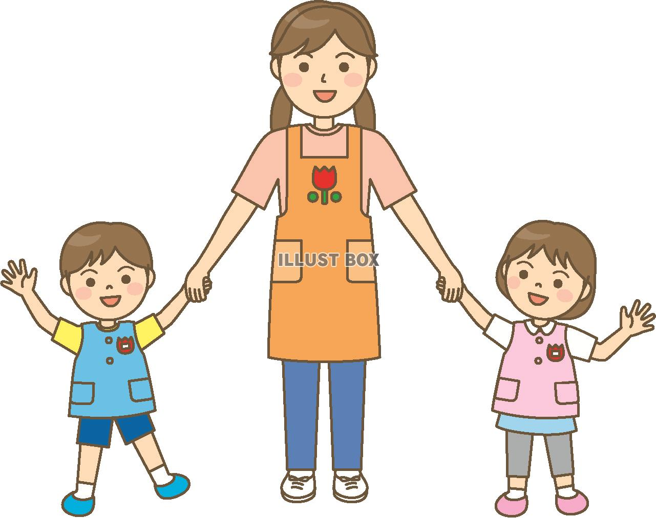 無料イラスト 保育士さんと子供達1