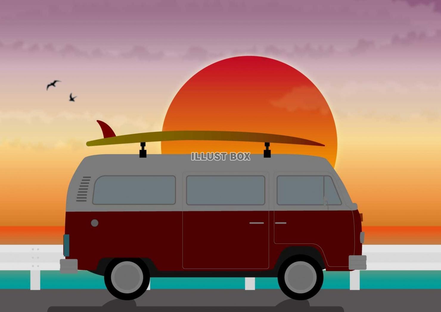 無料イラスト サーファーと夏の夕暮れ