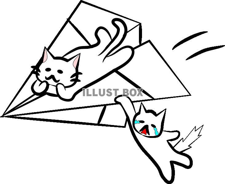 にゃんずと紙飛行機 : イラスト ...