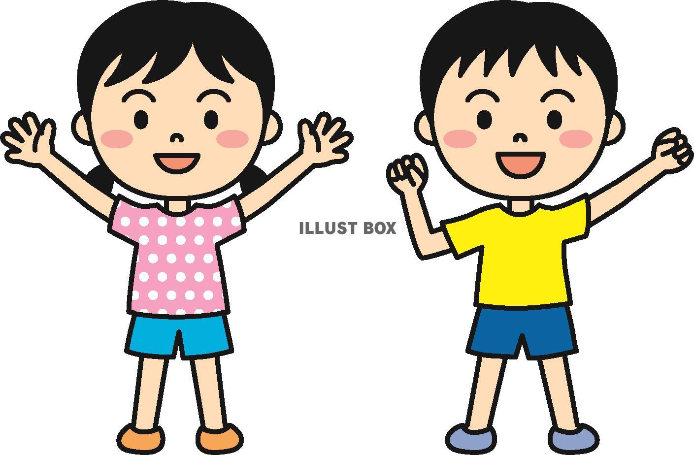 無料イラスト 夏の子供(帽子なし)カラー