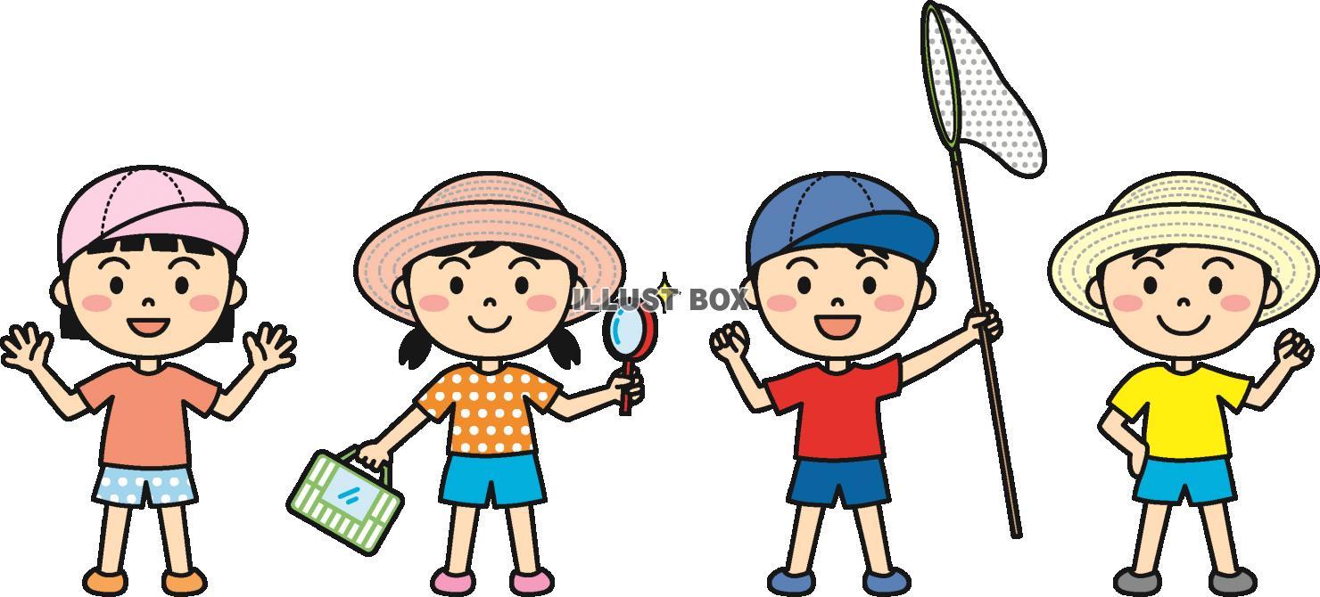 無料イラスト 夏の子供外遊びカラー
