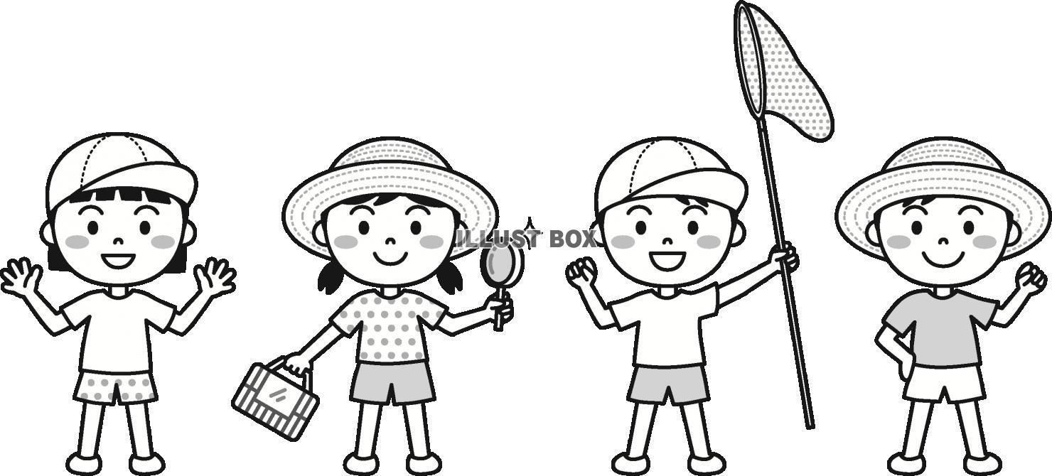 無料イラスト 夏の子供外遊びモノクロ